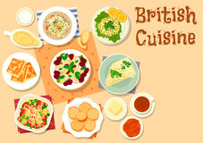 British cuisine traditional breakfast dishes icon. British cuisine breakfast dishes icon with cheese toast, vegetable bacon salad, cucumber sandwich, chicken Stock Photos