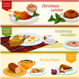 British cuisine traditional dishes banner set Stock Images