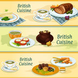 British cuisine traditional dishes for menu design. British cuisine banners with fish and potato chips, irish stew, roast beef with yorkshire pudding, baked beef Royalty Free Stock Photo