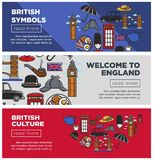 British culture and symbols Internet pages templates set stock illustration