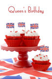 British Cupcakes with Union Jack Flags Royalty Free Stock Photography
