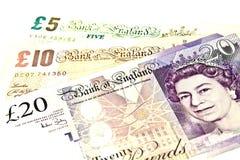 British Currency. – Five, Ten, Twenty British Pound Sterling Note stock image