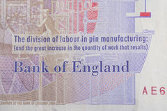 British Currency. A close up of the Bank of England text on a twenty pound note Stock Image