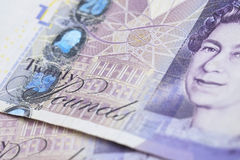 British Currency. A close up of a twenty pound note Stock Image