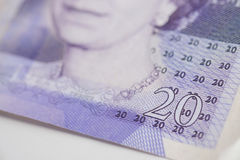 British Currency. A close up of a twenty pound note Royalty Free Stock Photography