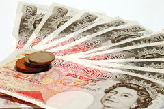 British currency & coins Royalty Free Stock Photo