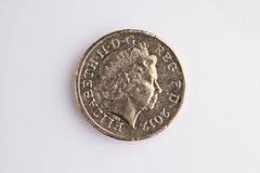 British Currency. Looking down on a pound coin. Heads Stock Images