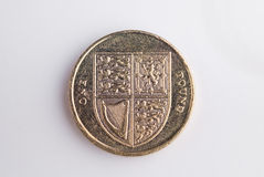 British Currency. Looking down on a pound coin. Tails Stock Photography