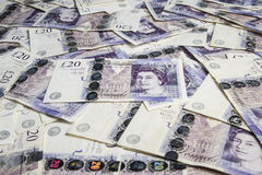 British currency. Plenty of British 20 Pound banknotes. Background. stock images