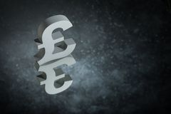 British Currency Symbol or Sign With Mirror Reflection on Dark Dusty Background royalty free stock photos