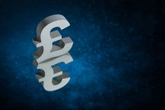British Currency Symbol or Sign With Mirror Reflection on Blue Dusty Background royalty free stock image