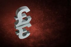 British Currency Symbol or Sign With Mirror Reflection on Red Dusty Background royalty free stock photography