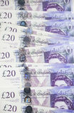 British Currency. Twenty pound notes from the bank of England Royalty Free Stock Photo