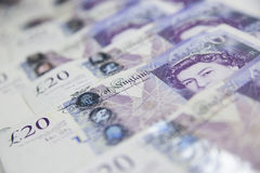 British Currency. Twenty pound notes from the bank of England Stock Image
