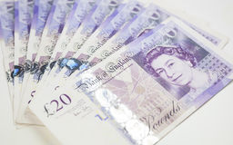 British Currency. Twenty pound notes from the bank of England Royalty Free Stock Photography