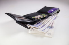British Currency. A wallet full of twenty pound notes Stock Images