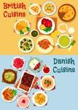 British and danish cuisine icon set design Stock Image
