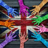 British Diversity People Working Together. British diversity as diverse hands made of crumpled paper connected together as a concept for Britain citizen stock illustration