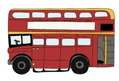 British Double Decker Bus. A red British double decker bus with yellow details Royalty Free Stock Image