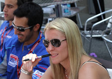 British Driver Pippa Mann signing autographs at the 500 Festival Community Day Royalty Free Stock Photography