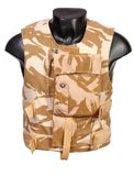 British ECBA body armour. British ECBA enhanced combat body armour. Used to protect from fragmentation injury and small calibre weapons. Used in Iraq and Stock Image