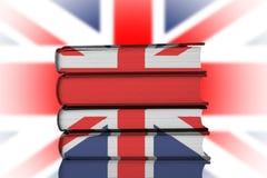 British Education. Stack of Books over Union Jack Flag.British Education System Concept Royalty Free Stock Image