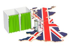 British election concept, ballot box with voting booths on map o. F Great Britain, 3D Stock Images