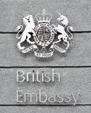 British embassy sign and coat of arms Royalty Free Stock Photography