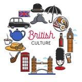 British or England culture vector symbols. British culture and England travel symbols of famous landmarks. Vector UK Britain flag, Big Ben Tower or London Bridge stock illustration