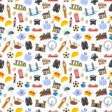 British, england, london symbols and landmarks seamless vector background Royalty Free Stock Image