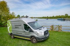 British Environment Agency vehicle seen near a riverbank system in the eats of England. This large river system is prone to flooding, the view shows not only Royalty Free Stock Photography