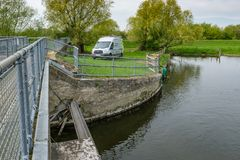 British Environment Agency vehicle seen near a riverbank system in the eats of England. This large river system is prone to flooding, the view shows not only Stock Images