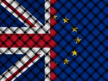 British and EU interwoven flags illustration. British flag and European Union flag interwoven in abstract 3d illustration Royalty Free Stock Photos
