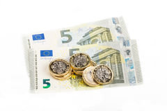 British and Euro currency Stock Photography