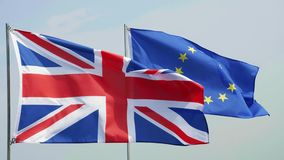 British and European Union flag. Big British Flag on the foreground stock video footage
