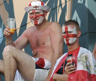 British Fans with their face painted during their holidays in Mallorca Stock Photography