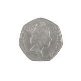 British fifty pence coin obverse Royalty Free Stock Photo