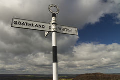 British Finger post sign, North Yorkshire Moors. Royalty Free Stock Photos