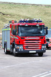 British Fire Engine. A brand new British fire engine waiting to get on the ferry Stock Photo