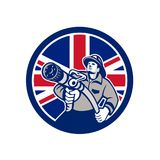 British Firefighter Union Jack Flag Icon. Icon retro style illustration of a British firefighter or fireman holding a fire hose front view  with United Kingdom Royalty Free Stock Images
