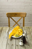 British Fish and Chips on a newspaper print plate Stock Photography