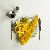 British Fish and Chips on a newspaper print plate Stock Photos
