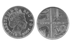 British Five Pence Coin. On white background Royalty Free Stock Photos