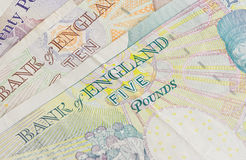 British five ten and twenty pound Stock Image