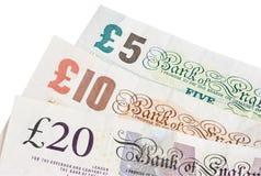 British five ten and twenty pound Royalty Free Stock Photography