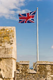 British flag. Flagpole on a Dover castle with flapping British flag Stock Photo
