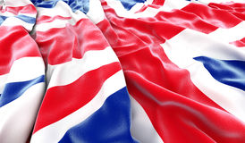 British flag. Wrinkled British flag - 3D render royalty free stock image