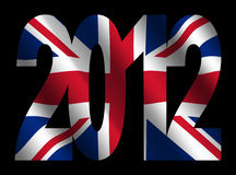 British flag and 2012 text. 2012 text with rippled British flag illustration Royalty Free Illustration