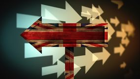 British flag video. British flag against animated pointing arrows background stock video footage