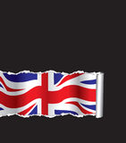 British flag background. Vector image of the british flag in the background on torn paper Royalty Free Stock Images